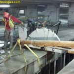 Slab sawing double-T beam