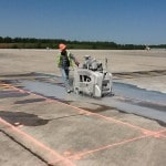 Slab sawing runway