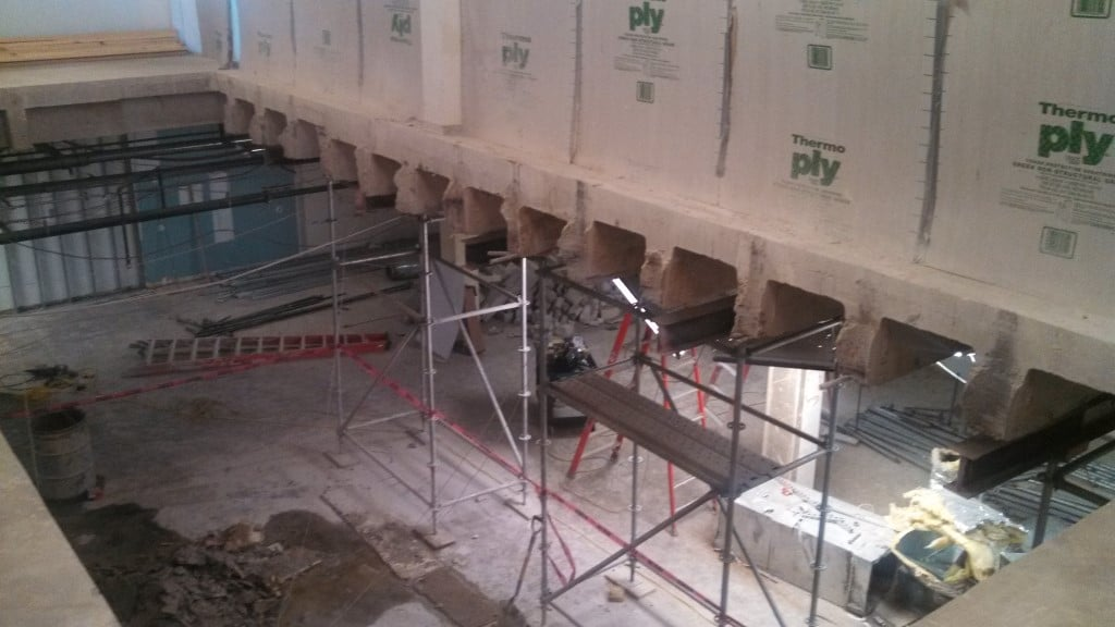 Structural slab floor removal at rice university for Removing concrete floor