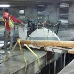 Concrete cutting double-T slab