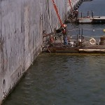 Core drilling along a dock wall