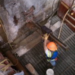 Core drilling along a dock wall (top view)