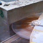 Horizontal concrete saw cutting