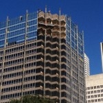 Precast removal from Houston highrise