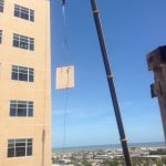 Removal of precast slab from 11th story