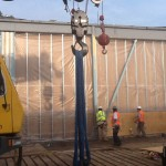 Precast concrete panels removed from warehouse